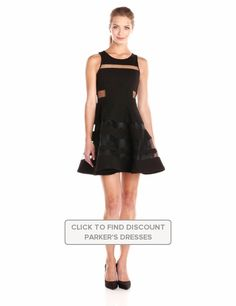 Parker #Womens Conner #Sleeveless #FitAndFlare #Mesh Dress with #Cutout Details #Black #Dresses #Nylon #Parker @parkernewyork #Polyester #WTS #WhoTopsSyle