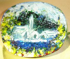 peaceful waters Hand painted abstract wooden brooch by Thesnowrose, €10.00