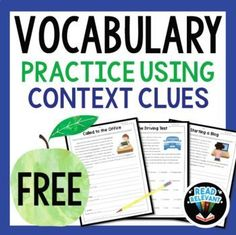 Vocabulary: Practice Using Context Clues FREEBIE. These free vocabulary worksheets will come in handy for test prep season. Vocabulary Strategies, Vocabulary Instruction, Teaching Vocabulary, Vocabulary Practice, Vocabulary Words, Teaching Resources, Teaching Ideas, Vocabulary Building, Homeschooling Resources