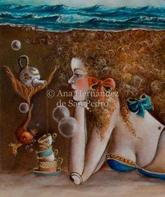 Siren, Sirena, detail from Verso L'infinito - oil on canvas 40x50 cm - Perfect for bath decor, cushion design, diseño de cojines, perfecto en pared de baño