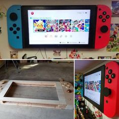 Turn your -inch screen into a life-size Nintendo Switch. Make ~ your 65 inch screen .Make Your Inch Screen a Life-size Nintendo Switch Make ~ Make Your Screen . Make Your Inch Screen a Nintendo Party, Nintendo Room, Game Room Decor, Boys Room Decor, Room Boys, Video Game Bedroom, Video Game Rooms, Video Games, Video Game Decor