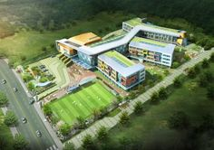 (Tentative name) Hamarumaru school design - kayra Education Architecture, School Architecture, Architecture Design, School Building Design, School Design, Hospital Design, Modern Exterior, Elementary Schools, Construction