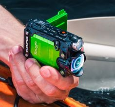 Olympus Tough TG-Tracker -- This 4K Ultra HD action cam from Olympus is built to take the inevitable beatings that come with filming all your amateur stuntwork. Drop-proof, freeze-proof, dust-proof and submersible to 100 feet, it features built-in wi-fi, GPS, & E-compass. An ultra-wide angle 204º f/2.0 lens captures all the action. $350