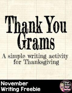 Classroom Freebies: Thank You Grams - November Writing Freebie