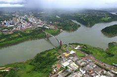 Ciudad del Este, Paraguay, and Puente de La Amistad, over the Parana river, separating Foz de Iguaçu, Brasil and Paraguay.
