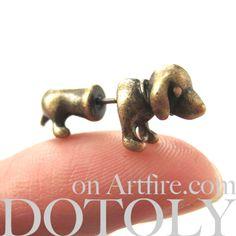 Animal Stud Earrings in Bronze