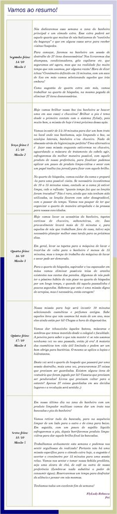Missões FlyLady - 14 a 19 de Outubro de 2019 Flylady, Words, October 19, Master Bath, Cleaning, Weekly Schedule, Horse