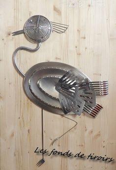 Héron sorti des fonds de tiroirs de la cuisine ! A accrocher dans le maison ou le jardin...d'autres créations d'animaux rigolos à découvrir dans ce tableau ou sur mon blog