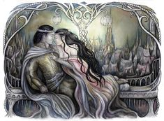 """Arwen Undomiel, daughter of the peredhil, Elrond.  Descendant of Luthien, like her forebear she chose to give up her immortality for the sake of her mortal love, Aragorn, heir to the throne of Gondor and Arnor. """"King and his Queen"""" by jankolas on DeviantArt"""