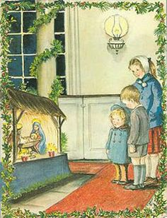 Viewing the creche - illustration by Tasha Tudor