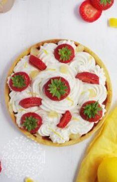 Tarte aux fraises, crème citron