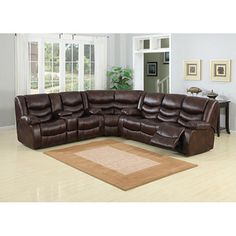 Pulsar Dark Brown Leather Sectional Sofa Set | Overstock™ Shopping - Big Discounts on Sectional Sofas