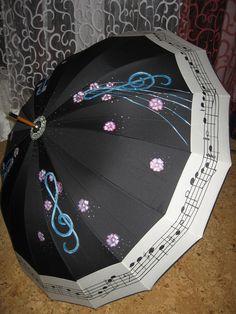 umbrella hand painted, parasol hand painted Umbrella Painting, Rain Umbrella, Under My Umbrella, Colorful Umbrellas, Umbrellas Parasols, Walking In The Rain, Singing In The Rain, Blue Harvest, Vintage Umbrella