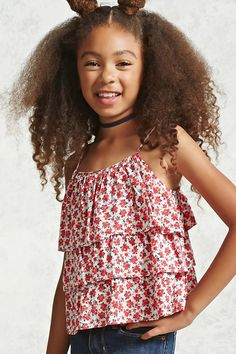 Forever 21 Girls - A woven cami with a tiered flounce-layered bodice, adjustable cami straps, and an allover floral print.