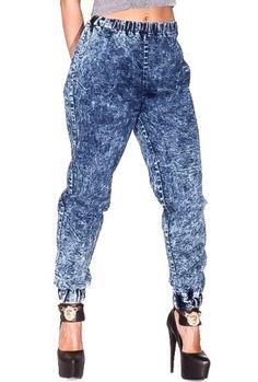 Acid Wash Denim Jogger Pants in Blue (bestseller)