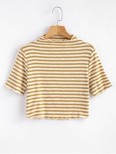 Shop for Knitted High Neck Striped Top COOKIE BROWN: Tees M at ZAFUL. Only $13.99 and free shipping!
