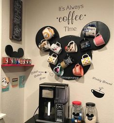 Coffee Stations Glam Coffee Stations Wedding Modern Coffee Bar - Raven S.Coffee Stations Glam Coffee Stations Wedding Modern Coffee Bar - Raven S. Casa Disney, Disney Diy, Disney Crafts, Disney House, Cozinha Do Mickey Mouse, Mickey Mouse Kitchen, Deco Disney, Disney Home Decor, Disney Kitchen Decor