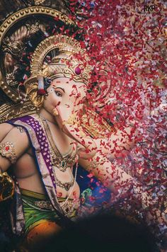 Ganesh- worshipped with flowers and petals
