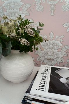 Taking a break at the cafe in Decorex. Beautiful wallpaper from Blendworth's new Wedgwood Vol I collection.