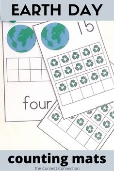Practice counting to 20 with these Earth Day counting mats.  These are perfect for Earth day or a recycling theme.  #recycle #preschoolmath #counting
