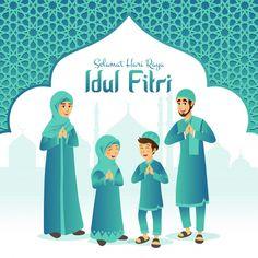 Selamat hari raya Idul Fitri means happy eid mubarak in Indonesian. Cartoon muslim family celebrating Eid al fitr with mosque and arabic frame on background , Mubarak Ramadan, Eid Mubarak Wishes, Happy Eid Mubarak, Hijab Cartoon, Cartoon Icons, Cartoon Kids, Eid Al Fitr, Boy Character, Character Design