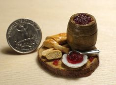 Miniature dollhouse . Red caviar in a barrel. Bread with red caviar. Miniature food. The food in the dollhouse. Scale 1:12.