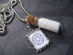 Devil's Trap Protection Symbol Salt Vial Necklace by AngelQ