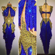 #abrahammartinez #newdress #latin #electricblue #gold #swarovski #forsale FOR SALE!!