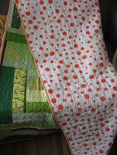 Love this Orange Dot back!   scrappy quilt 004 | Flickr - Photo Sharing!