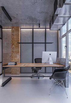 Escritório clean com mesa em madeira seguindo o estilo industrial