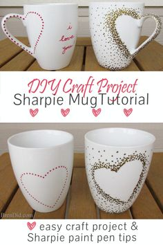 DIY Craft Project: Sharpie Mug Tutorial - Custom heart handle mugs that require no artistic ability or transfers! If you can trace and make dots you can make these mugs! Learn the easy hack! Uses oil based Sharpie paint pens that are baked on. http://brendid.com/diy-craft-project-sharpie-mug-tutorial/