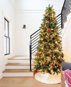 Our Modern Farmhouse: Christmas Home Tour #stairs #christmastree #farmhousestairs