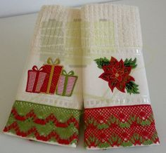 Towel and toilet with Christmas embroidery cotton lace trim . A great choice for… Christmas Towels, Christmas Sewing, Christmas Embroidery, Christmas Crafts, Christmas Decorations, Christmas Ornaments, Hand Towels, Tea Towels, Bible School Crafts