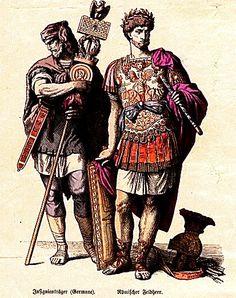 Plate #6a - Ancient Rome Costume History: dalmatic tunic, cloak, tunica palmata, short hair, beard, tunica subacala