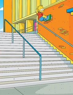 Bart Simpson - Fs Wallride Indy Skateboarding at Hollywood High Stairs Simpson Wave, Bart Simpson, Skateboard Art, The Simpsons, Cool Art, Hollywood, Kids Rugs, Skateboarding, Low Life