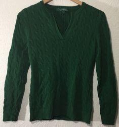 56fb8666a Lauren Ralph Lauren Womens Open Collar V-Neck Cable Knit Sweater Green Sz M