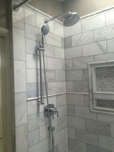 Corvallis, Oregon master shower Carrara marble Grohe fixtures Custom tile Glass free White shower curtain