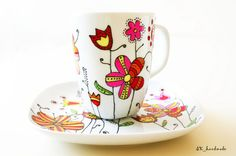Hand painted Coffee Cup & Saucer