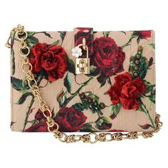 Dolce & Gabbana Small Rose Print Canvas Bag (58.910 CZK) ❤ liked on Polyvore