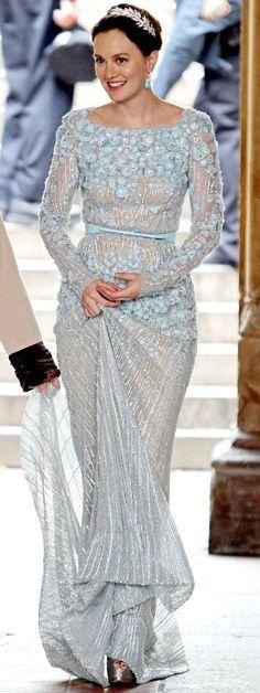 Powder Blue Lace Wedding Dress
