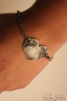 Custom dog nose/paw fine silver heart bracelet by ROCKaSAILOR
