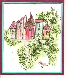 A Glorious Garden Birdhouses water color Art Impessions
