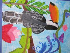 "4th grade tempera/watercolor/plant collage painting 18"" X 24""  Art teacher: Susan Joe"
