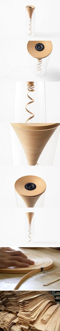This has gotta be one of the most beautiful and bizarre standalone speakers we've ever seen! It explores using narrow, rolled strips of beech wood to create coil based shapes – a technique that's been used in decorative items and light fixtures for ages. While the dangling spiral shape is what's most apparent, the tighter coil at the top is perfectly structured for pure sound delivery. It produces a uniquely clear and soft tone with little distortion.