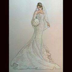Beautiful Karin in Oleg acassini- @krosa2119 @olegcassini #realbride #beautifulbrides #bridalillustration  For Illustration enquiry- please contact- karenorrillustration@gmail.com