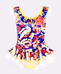 Love this Royal Blue & Orange Floral One-Piece - Girls on #zulily! #zulilyfinds