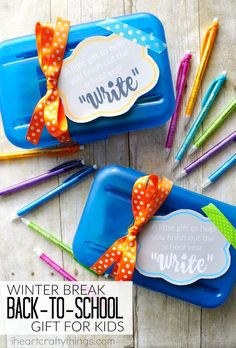 """Do your kids struggle getting back into the school routine after Christmas break? Here's a fun back to school kids gift that will help them finish off the school year """"write"""" It's so easy to make and is sure to help them get their school spirit back."""