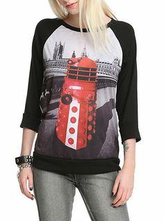 Doctor Who Red Dalek Raglan Girls Pullover