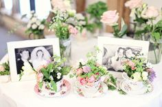 parent's wedding pictures, and tiny tea cup arrangements