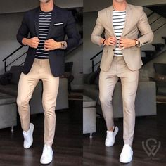 Classy Outfits For Teens, Simple Casual Outfits, Stylish Mens Outfits, Cool Outfits, Suits And Sneakers, White Sneakers Outfit, Smart Casual Menswear, Business Casual Men, Fashion Pants